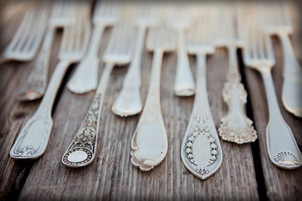 Wedding Shower Gift Idea: have each guest bring an antique utensil (specify fork or spoon) to give to the bride-to-be for an eclectic flatware option.