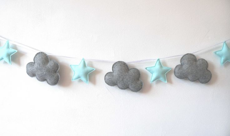Cloud and Star Garland, Grey and Mint Green Garland, Felt Bunting, Felt Banner, Nursery Banner, Cloud Star Wall Decor MADE TO ORDER by LilyRazz on Etsy