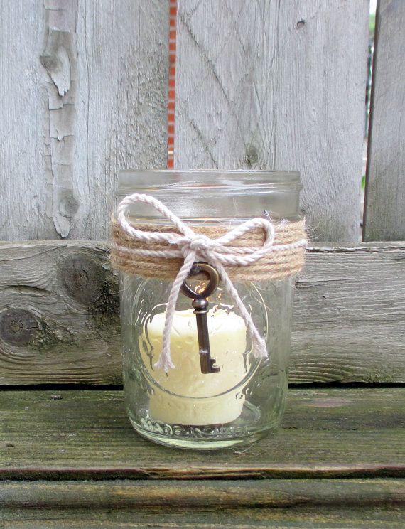 Rustic Wedding / Mason Jar Wedding Votive by CarolesWeddingWhimsy