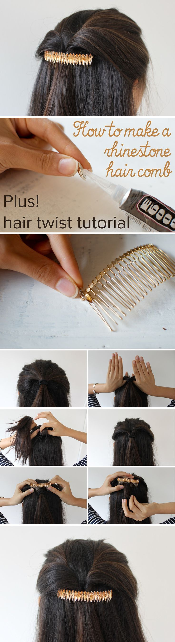 Create this elegant rhinestone hair comb and twisted hair style in a few simple steps. www.ehow.com/...