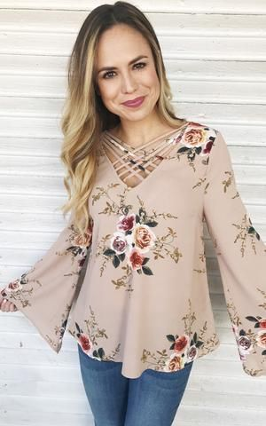 Mary-Taupe floral bell sleeve dressy top.