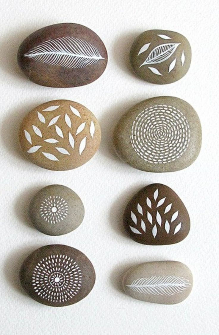 Air and Earth – Collection of 8 Painted Stones with Nature Inspired Designs – by Natasha Newton