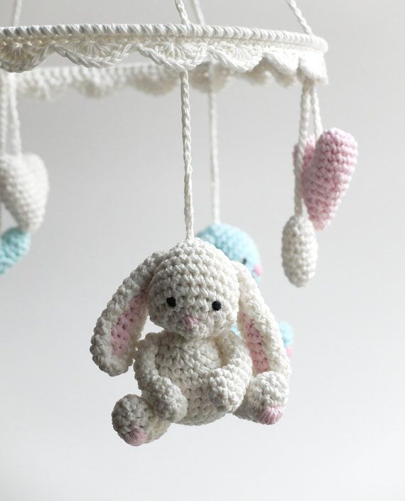 Baby Mobile Crochet Bunny Mobile Newborn Crib Mobile by HOOKAshop