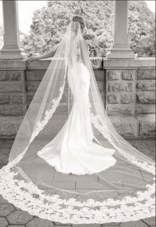 White Ivory New Lace 4 Metre Length And 150cm Width Long Wedding Veil