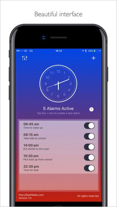 Deaf Wake, an LED / Vibration / Visual based alarm app for