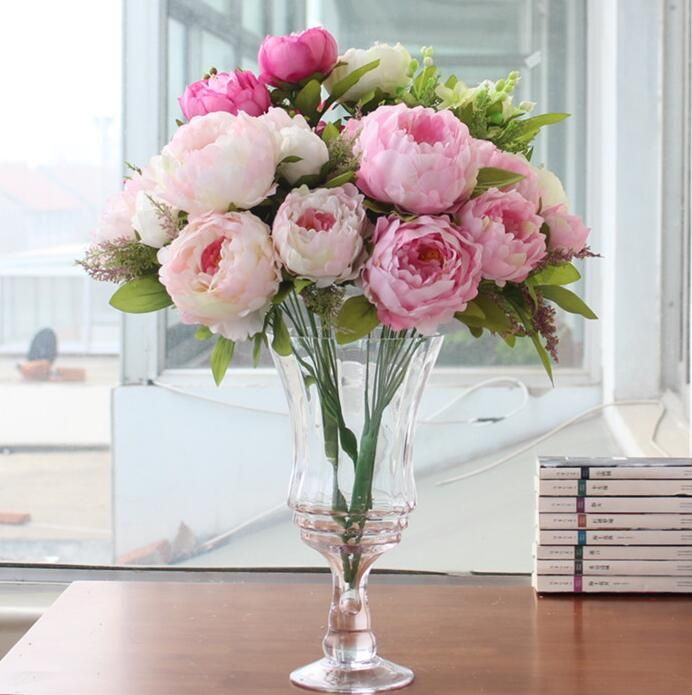 Bouquet Artificial Peony Silk Flowers Fake Leaf Home and Wedding Party  Decoration 7 peony flowers head