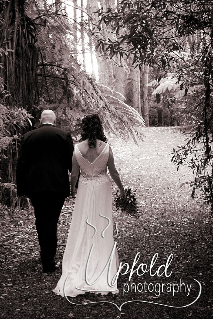 This romantic secret walkway is found in the wooded area of the grounds at Footbridge Lodge, in the Bombays, New Zealand. Image by Upfold Photography, Auckland. ~ Romantic wedding setting ~ black and white wedding photography ~ photos at Footbridge Lodge ~