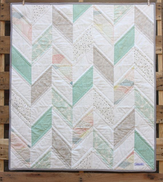 Baby Herringbone Quilt- Neutral Baby Blanket- Mint, Gray, and White - READY TO SHIP