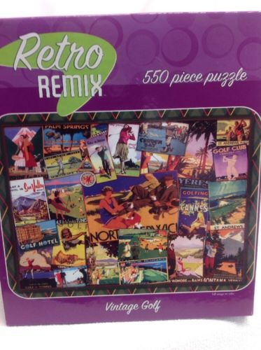 Retro-Remix-VINTAGE-GOLF-550-Piece-Jigsaw-Puzzle-24-034-x-18-034