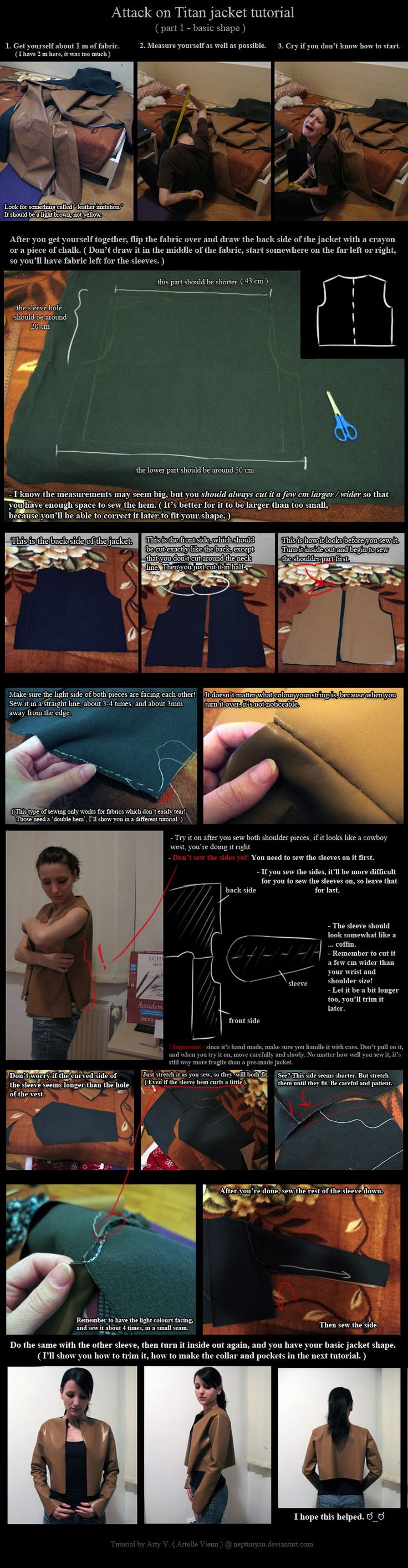 Attack on Titan Jacket Tutorial - basic shape. by neptunyan.deviantart.com on @DeviantArt