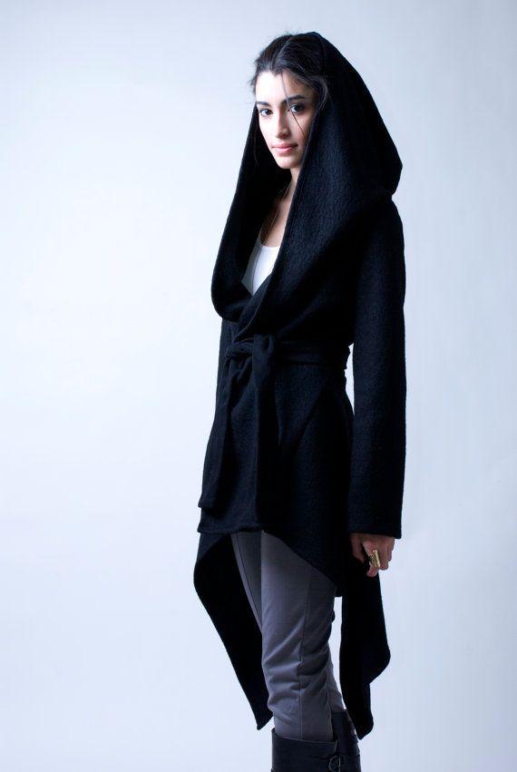 Black Coat with a Hood / Asymmetrical Sweater by marcellamoda, $123.00