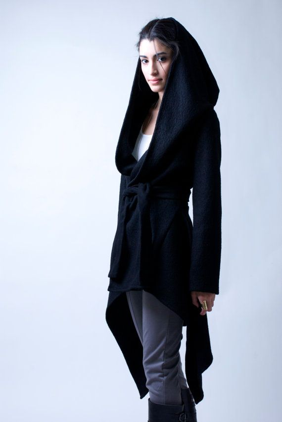 Black Coat with a Hood / Asymmetrical Sweater Hoody / Winter Coat / Oversize Designer Coat / Asymmetric Coat / - Model 75 on Etsy, $123.00