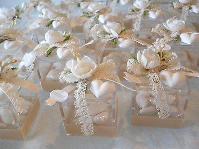 cod. 309E-310E bomboniera scatola in plexiglass con fiore e gessetto profumato x altre info clicca su foto
