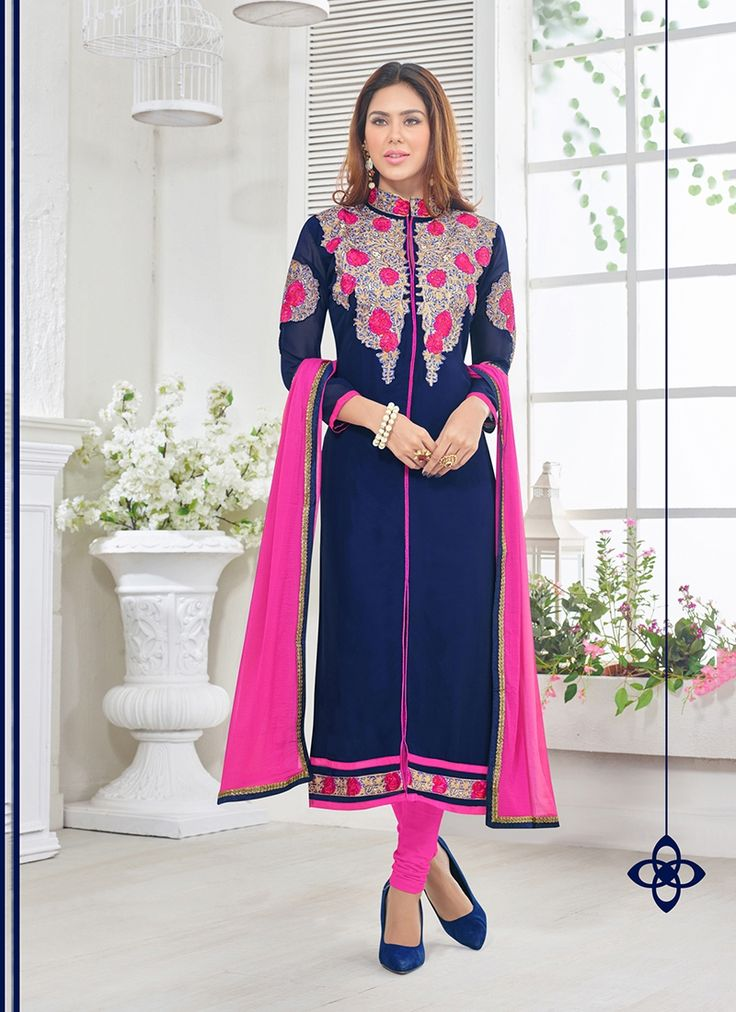 Be your diverse vogue diva with this navy blue georgette churidar designer suit. The ethnic embroidered and resham work with a clothing adds a sign of attractiveness statement to your look. #bridallehenga #bridalwear #indianbride #southasianbride #southasianwedding #bengaliwedding #pakistanistreetstyle #salwarsuits #partywear #fashionandstylish #shoponline #ethnicwear #originals #desicouture #festive #collection #musthave #indianwardrobe #indianfashion #PayPal #india #Canada #Australia…