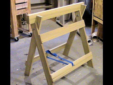 Build a double duty sawhorse / workbench - YouTube   Woodworking   Pinterest   Folding sawhorse ...