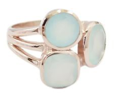 exquisite Chalcedony 925 Sterling Silver Rose Gold Blue Ring gemstone US gift