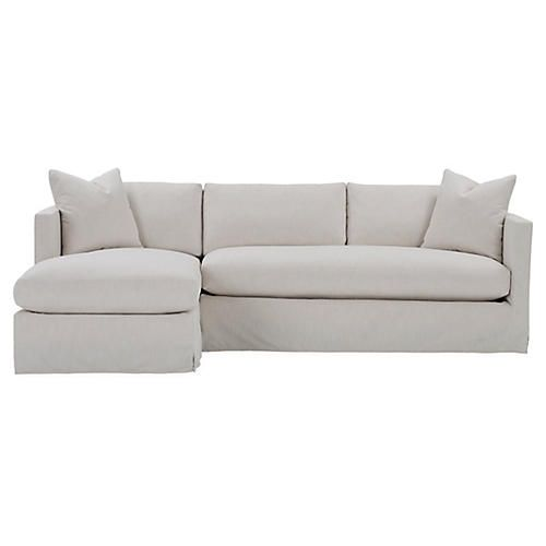 Shaw Left Bench Seat Sectional Ivory Crypton Sectional Sofa