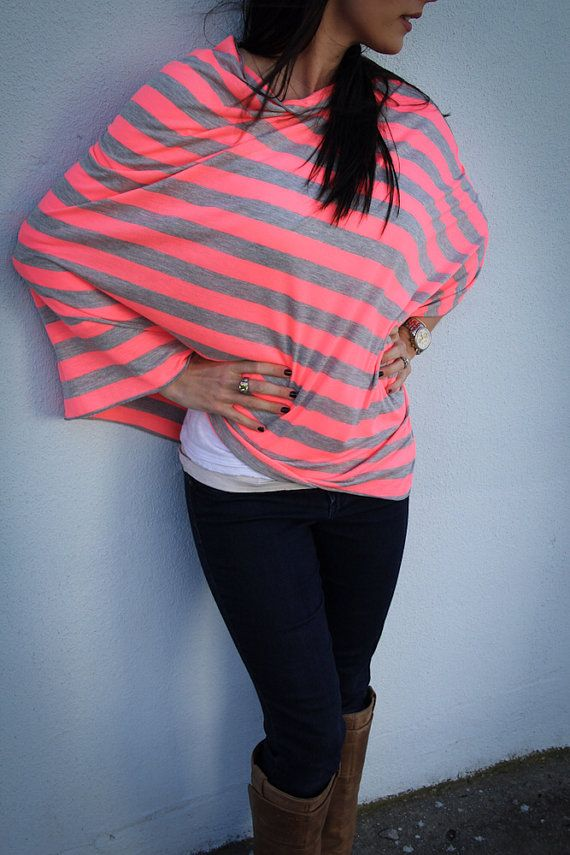 Neon Pink and Gray Nursing Cover/ Modern Nursing Poncho for Full Coverage and Privacy While Breastfeeding your Modern Baby