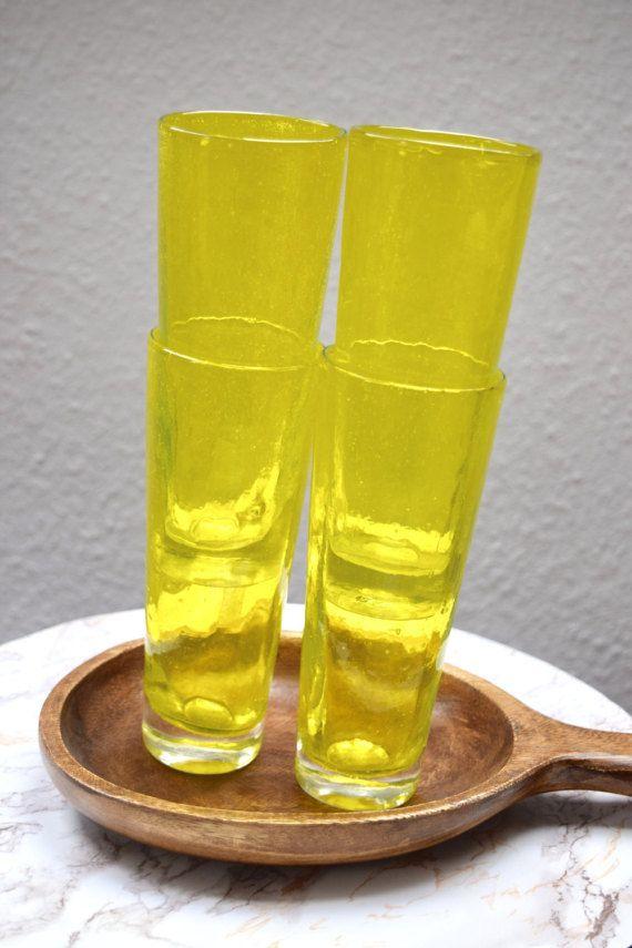 Set of 4 Vintage Mod Retro Mid-Century Bright Yellow Tall Drinking Glasses Cups Drinkware, Vintage 4 Trinkgläser Wassergläser glas