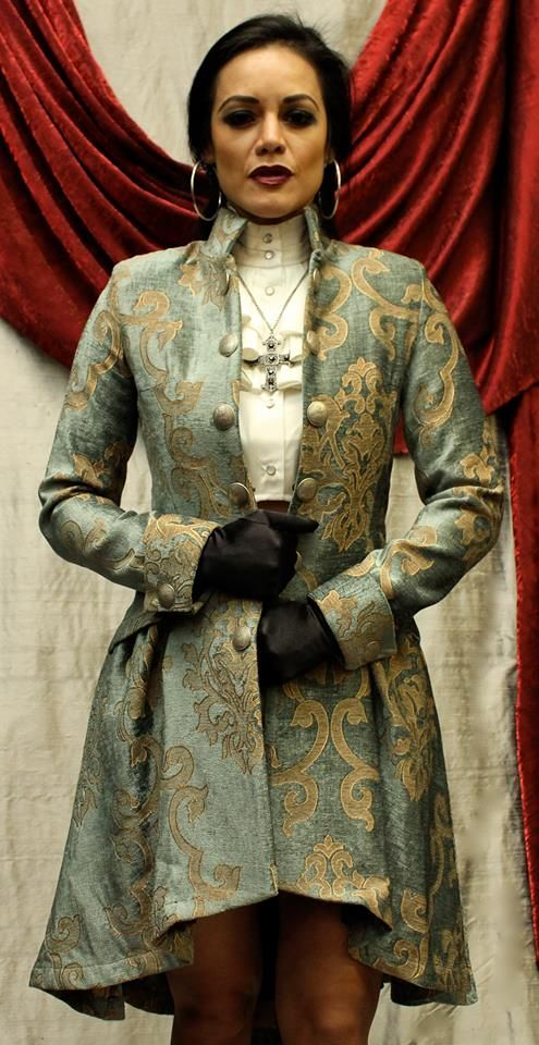 Frock Coat - Lionheart Coat, gold on green velvet brocade from Shrine of Hollywood
