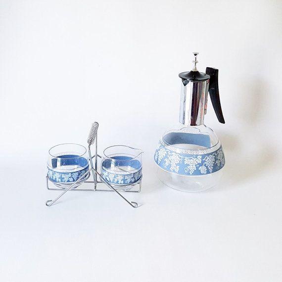 Midcentury Coffee Set Glass Coffee Set by slatternhouse5 on Etsy