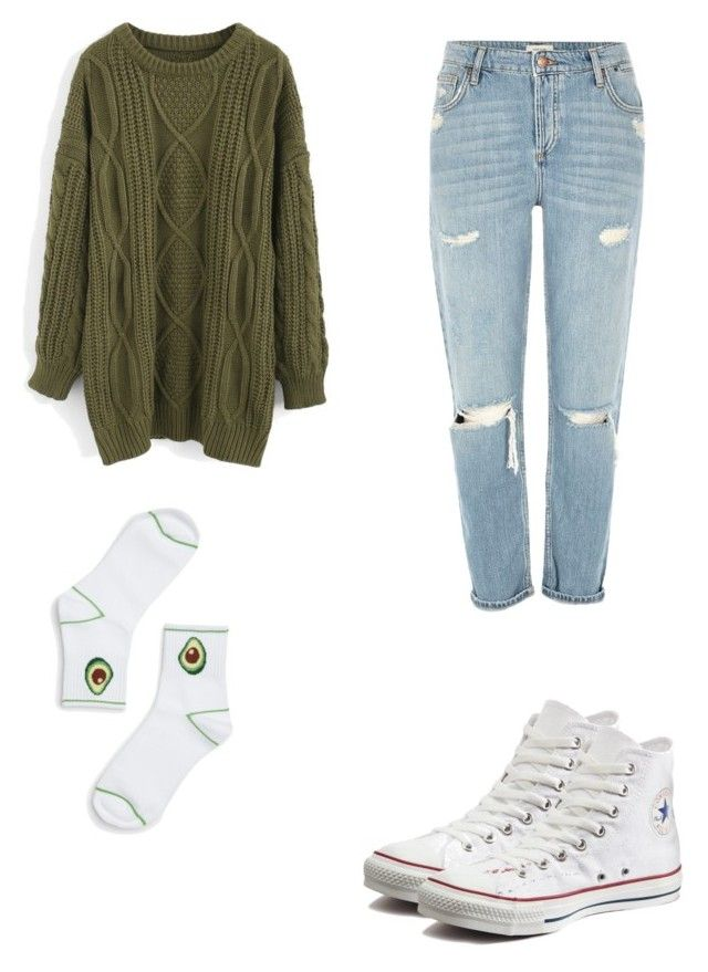Avocado by kyrarosie on Polyvore featuring polyvore, fashion, style, Chicwish, River Island, Monki, Converse and clothing