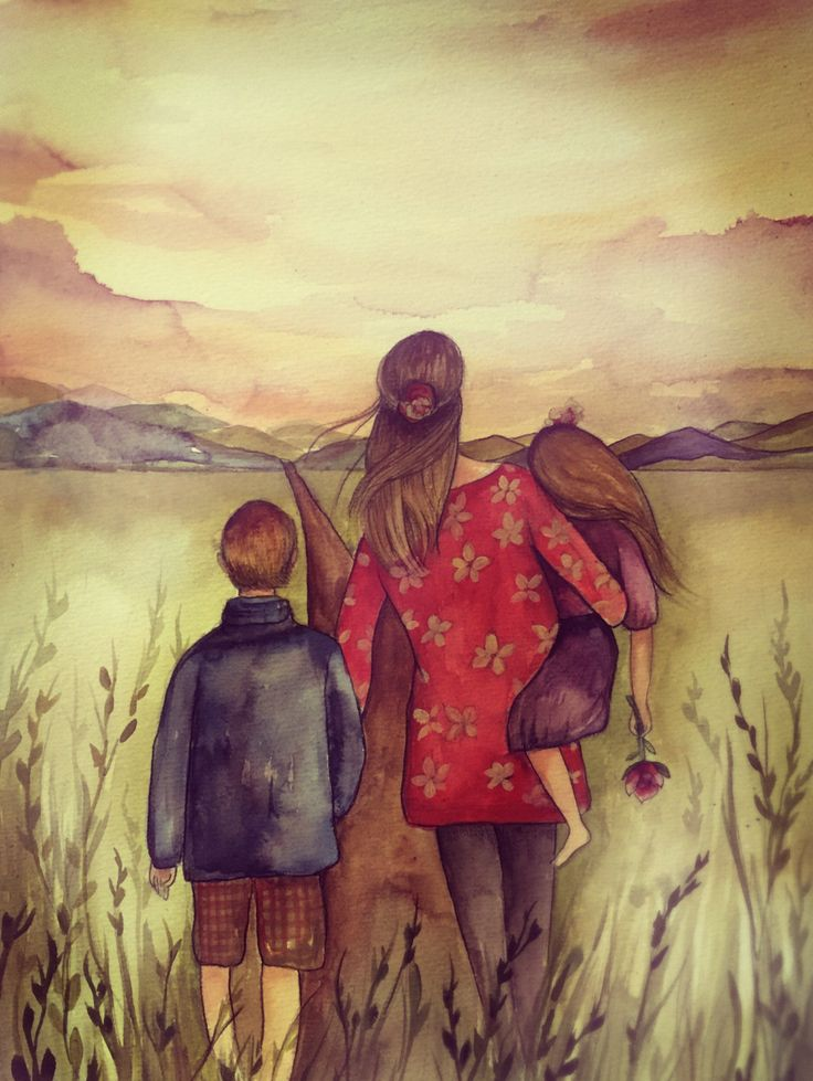 mother with son and daughter in a field by claudiatremblay on Etsy