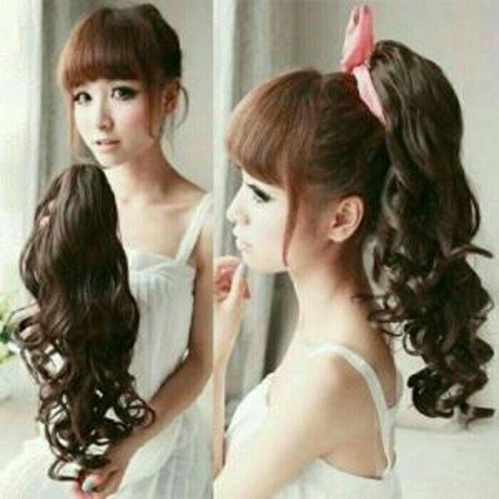 rambut sambungan/wig/jepit rambut kuda  varian warna hitam dan coklat hrg 75.000 SMS/WA 085642917567