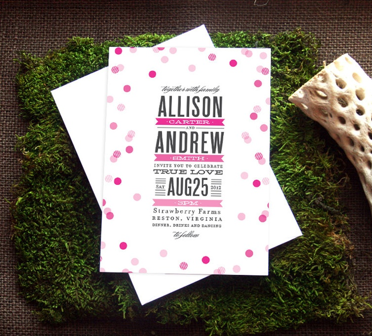 fun modern wedding invitations%0A a super stylish and fun wedding invitation  featuring falling confetti and  stacked  modern typography  colors and wording completely customizable