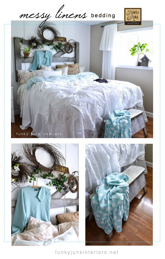 A messy dreamy bed made up with loose linens and white sheets you already have on hand. Fun and easy!  via Funky Junk Interiors #justbecauselinkupparty: Beds, Headboards, Bedrooms, Headboard Ideas, Bedroom Ideas