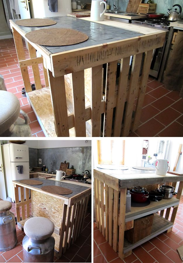 isle kitchen made with recycled pallets and top with ceramic Moroccan tiles