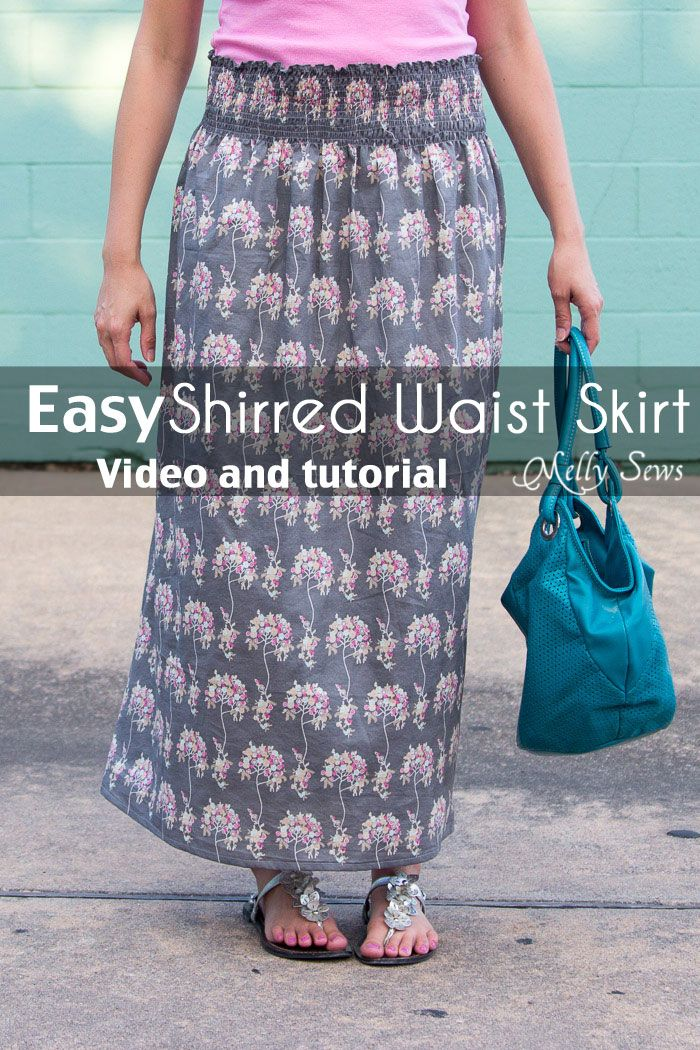 Make a stretch waist skirt from woven fabric with elastic thread shirring - Melly Sews