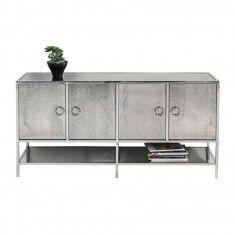Design dressoir van zilver glas