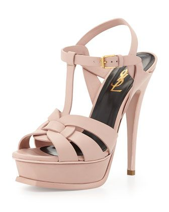 Can't go wrong with a Classic Tribute+Leather+Platform+Sandal,+Pale+Rose+by+Saint+Laurent+at+Neiman+Marcus.