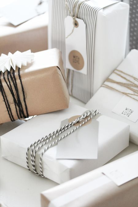 Gift wrapping w/ brown & white kraft paper .. baker's twine