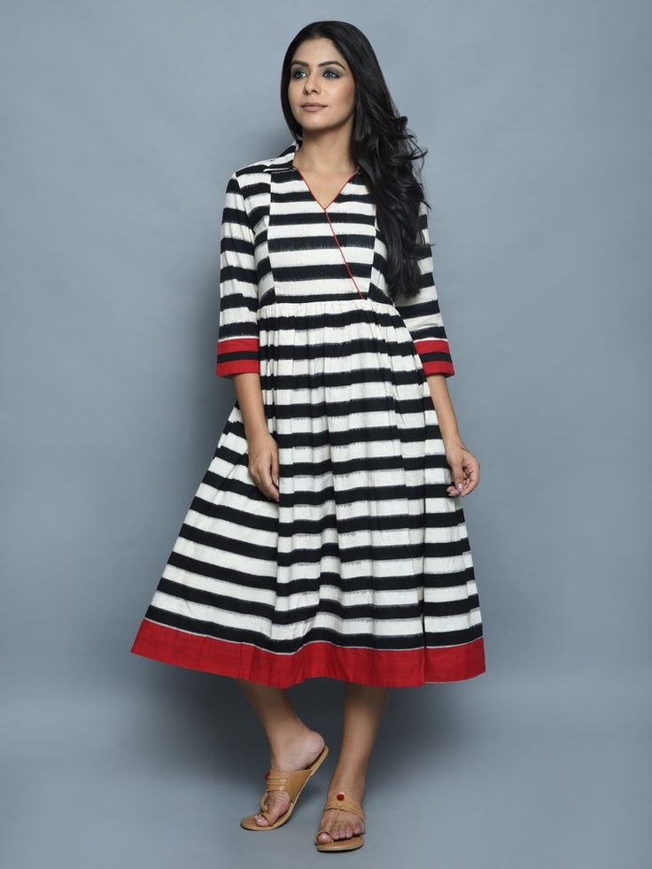 Black White Ikat Cotton Stripe Dress