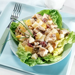 Mango-Curry Chicken Salad: A tasty combination of grilled chicken, diced mangos, sweet cranberries and crunchy walnuts all spiced with curry on top of a bed of lettuce. This recipe is made with nutrient-rich, fat-free yogurt; also try using reduced-fat Mozzarella cheese.   The cheese contains a small amount of lactose, and the live and active cultures in yogurt help digest lactose, making this recipe a friendly option for those who are lactose intolerant. #BeyondLI