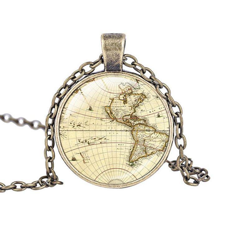 Северная америка и канада старинные карты ювелирные изделия стекло кабошон ожерелье мода карта мира ожерелье хип хоп ювелирных изделий купить на AliExpress