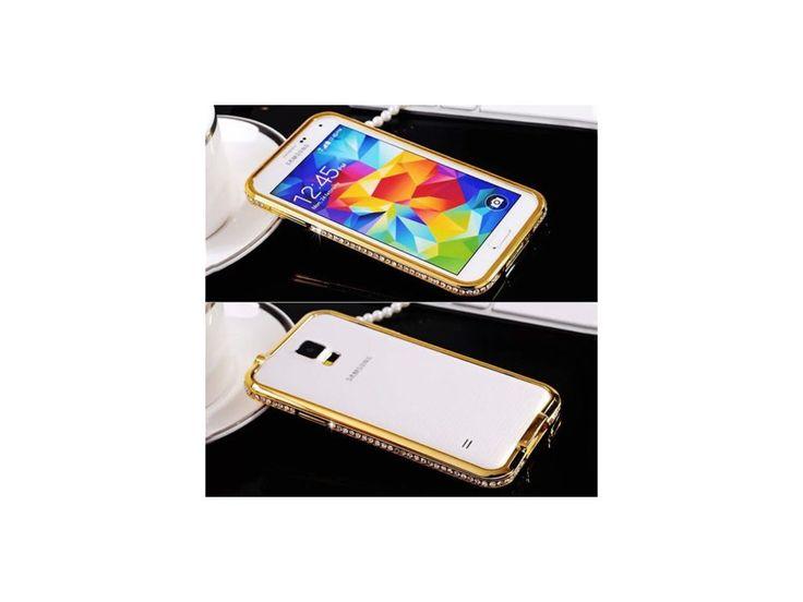 Hliníkový kryt (obal) pre Samsung Galaxy S5 - diamonds / golg (zlatý)