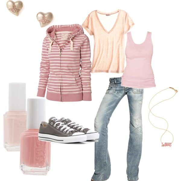 looks so comfy!! Pink and Cream, created by shemshay.polyvore...: Fashion, Outfits Lov, Colors, Soccer Games Outfits,  Jammi, Outfits So, Earrings,  Pyjama, My Style