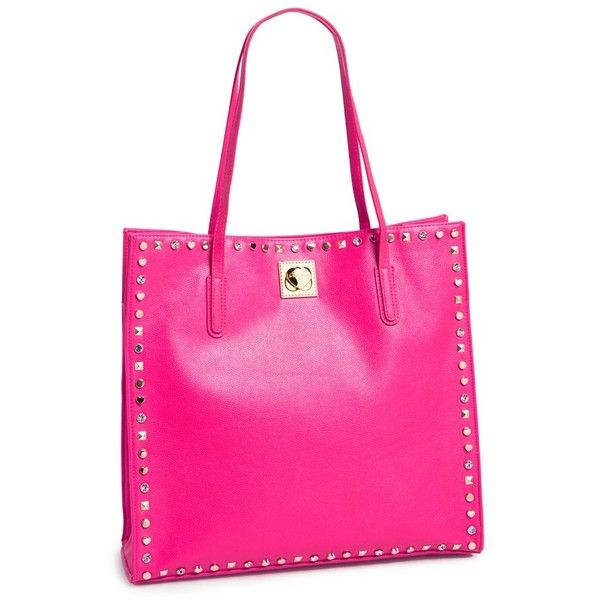 Women's Betsey Johnson 'Va Va Studs' Tote ($64) ❤ liked on Polyvore featuring bags, handbags, tote bags, studded tote, pink tote bag, handbags totes, pink tote purse and betsey johnson purses