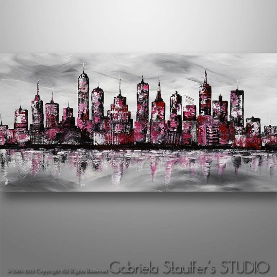 Abstract Painting, Cityscape Painting, Skyline Painting, Large,, Wall Decor, Wall Art, Painting, Canvas Painting by Gabriela Black White red