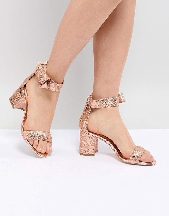 Ted Baker Kerrias Rose Gold Leather Block Heeled Sandal Heels Gold Leather Block Heels