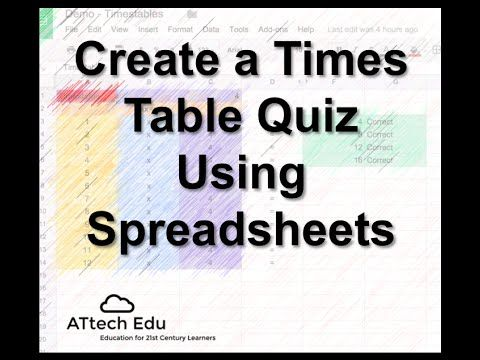 Times table Quiz using Spreadsheets Lesson 1 - Tutorial using Google Spreadsheets - YouTube