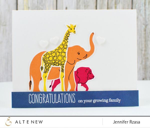Cute baby card using the Baby Zoo stamp set from Altenew