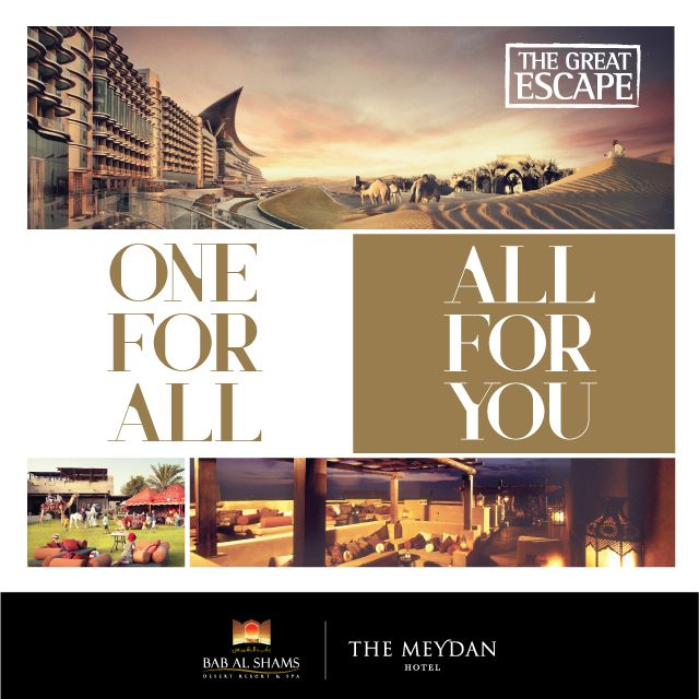 THE GREAT ESCAPE  Your Summer Getaway Plan with Meydan Hotels & Hospitality. escape the demands of city living into two distinctively unique vacation retreats just a stone's throw from the heart of Dubai. Masterminded by Meydan Hotels & Hospitality, The Great Escape starts from just AED 490++ per room per night for stays between now and 30th September 2015. Visit: http://meydanhotels.com/theGreatEscape/