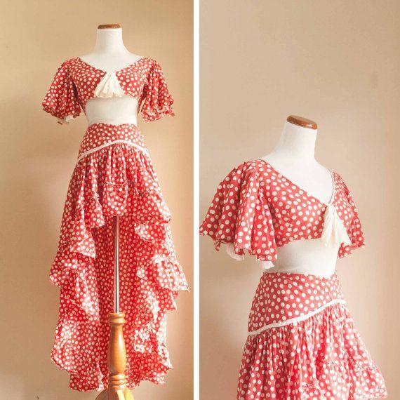 carmen miranda costume, polka dot red and white skirt and top set