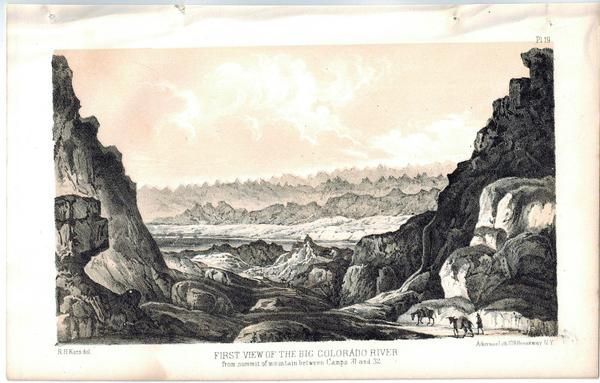 First View of the Big Colorado River 1853 American Indian Litho Print
