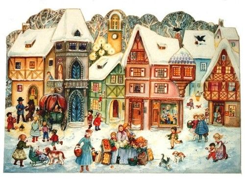 ... SELLMER - Old Fashioned German Paper Advent Christmas CALENDAR - #734
