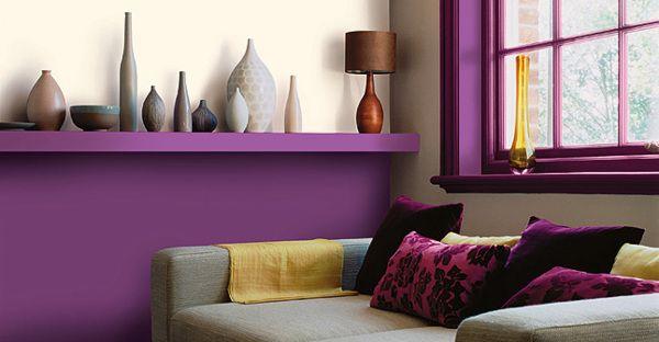 Quelles couleurs associer avec un mur violet deco for Objet deco couleur